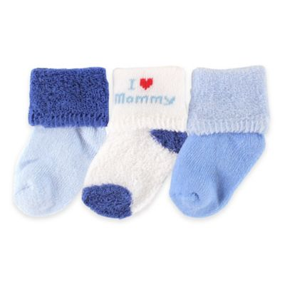 """BabyVision® Luvable Friends® Size 0-3M 3-Pack """"I Love Mommy"""" Socks in Blue"""