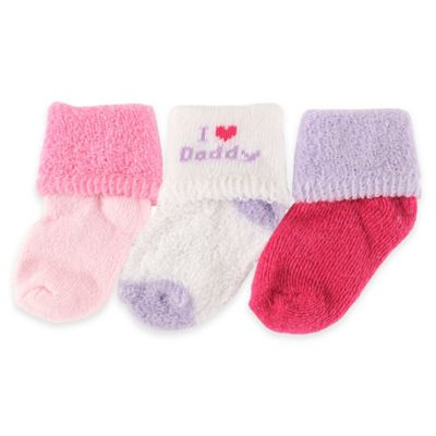 """BabyVision® Luvable Friends® Size 0-3M 3-Pack """"I Love Daddy"""" Socks in Pink"""