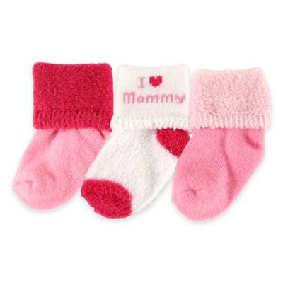 """BabyVision® Luvable Friends® Size 0-3M 3-Pack """"I Love Mommy"""" Socks in Pink"""