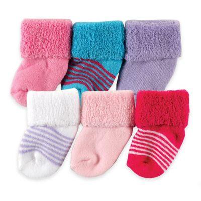 BabyVision® Luvable Friends® Size 0-3M 6-Pack Newborn Socks in Purple