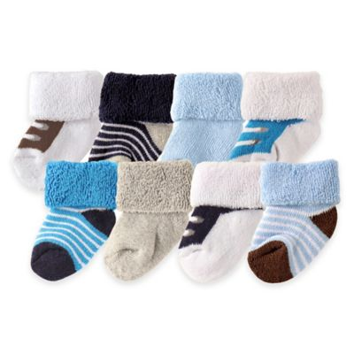 BabyVision® Luvable Friends® Size 0-3M 8-Pack Shoe Socks in Blue