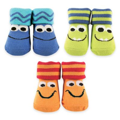 BabyVision® Luvable Friends® Size 0-6M 3-Pack Monsters Sock Gift Set in Blue/Green/Orange
