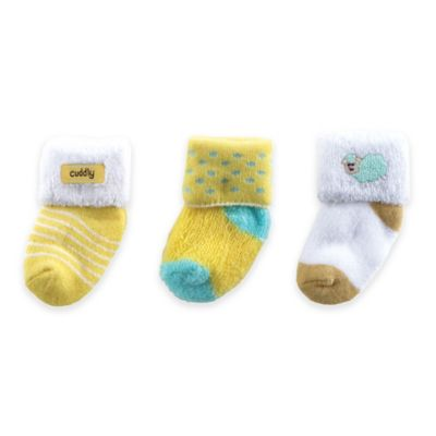 BabyVision® Luvable Friends® Size 0-3M 3-Pack Terry Socks in Yellow/White