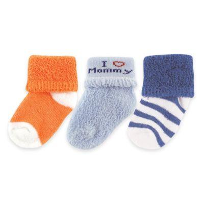 "BabyVision® Luvable Friends® Size 0-3M 3-Pack ""I Love Mommy"" Socks in Blue/Orange"