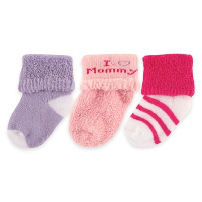"""BabyVision® Luvable Friends® Size 0-3M 3-Pack """"I Love Mommy"""" Socks in Pink/Red"""