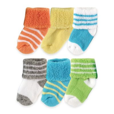 BabyVision® Luvable Friends® Size 0-3M 6-Pack Newborn Socks in