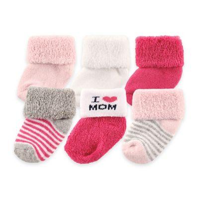 "BabyVision® Luvable Friends® 6-Pack ""I Love Mom"" Socks in Pink"