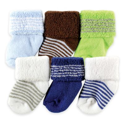 BabyVision® Luvable Friends® Size 0-3M 6-Pack Newborn Socks in Green