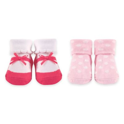 BabyVision® Luvable Friends® Size 0-9M 2-Pack Baby Socks in Pink