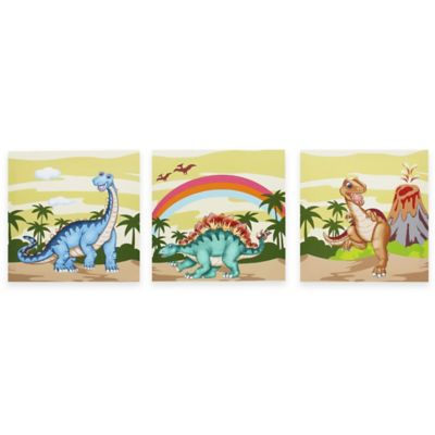 Teamson Fantasy Fields Dinosaur Kingdom Canvas Wall Art (Set of 3)