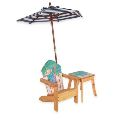 Teamson Kids Outdoor Table and Chair Set with Umbrella in Beach Summer
