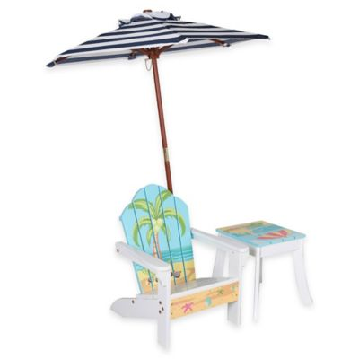 Teamson Kids Outdoor Table and Chair Set with Umbrella in Palm Tree
