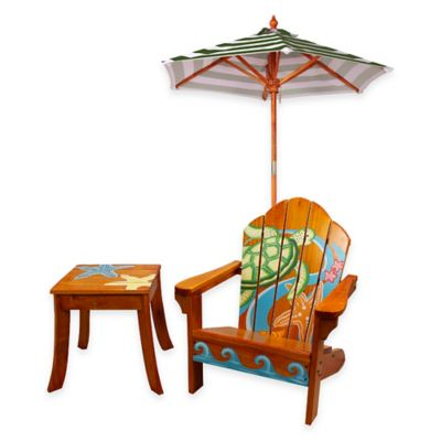 Teamson Kids Outdoor Table and Chair Set with Umbrella in Sea Turtle