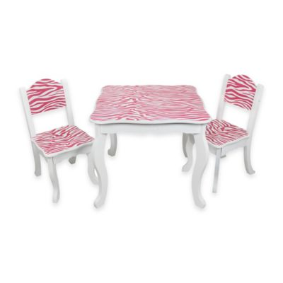Teamson Kids Table and Chairs Set in Pink Zebra