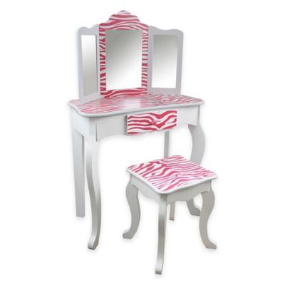 Teamson Kids Vanity Table and Stool Set in Pink Zebra