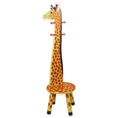 Teamson Kids Giraffe Wooden Stool and Coat Tree