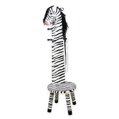 Teamson Kids Zebra Wooden Stool and Coat Tree