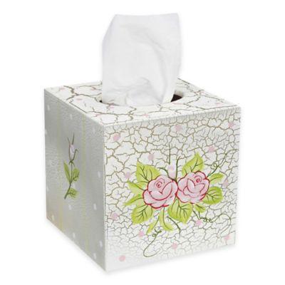 Teamson Crackled Rose Tissue Box Cover