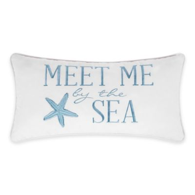 Natural Shells Meet Me Oblong Throw Pillow in Blue/White