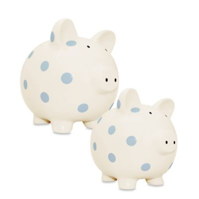 Argento Medium Ceramic Pig Bank in Cream with Blue Dots