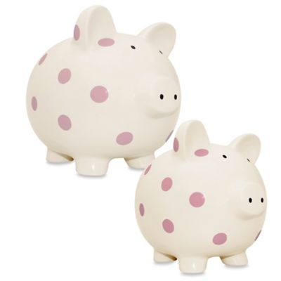 Argento Medium Ceramic Pig Bank in Cream with Pink Dots