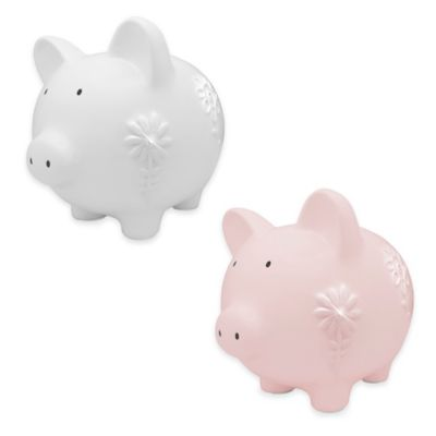 Argento Large Ceramic Pig Bank with Flowers in Pink