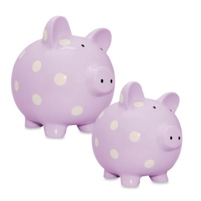 Argento Medium Ceramic Pig Bank in Purple with White Dots