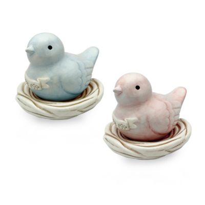 "Argento Ceramic ""Nest Egg"" Bird in Nest Bank in Pink"