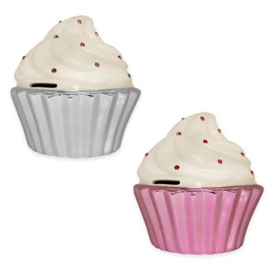 Argento Ceramic Tinsel Cupcake Bank in Pink