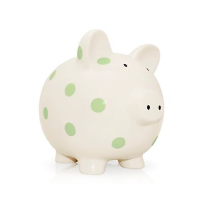 Argento Ceramic Medium Pig Bank in Cream with Green Dots