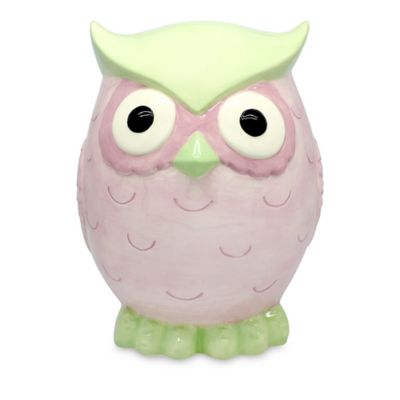 Argento Ceramic Sweet Owl Bank in Pink / Green
