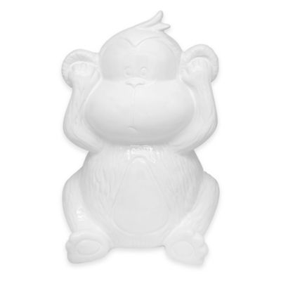 Argento Ceramic Hear No Evil Monkey Bank in White