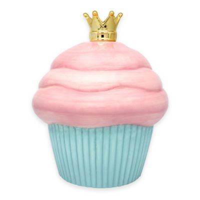 Argento Ceramic Queen of Cupcake Bank in Pink / Blue