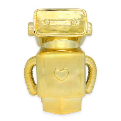 Argento Ceramic Robot Girl Bank in Gold