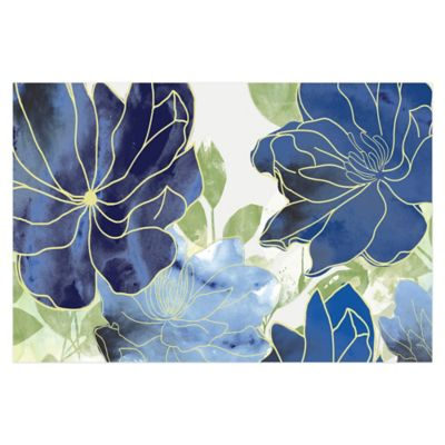 Cool Blue Blooms 36-Inch x 24-Inch Canvas Wall Art