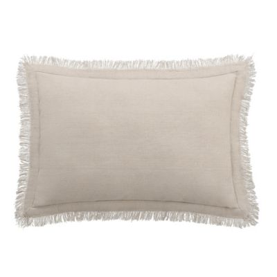 Bridge Street Fairhope Fringe Oblong Throw Pillow in Taupe
