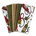 Wine 5-Pack Kitchen Towel Set in Green/White