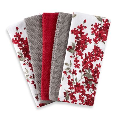Cherry Blossom 5-Pack Kitchen Towel Set in Red/White