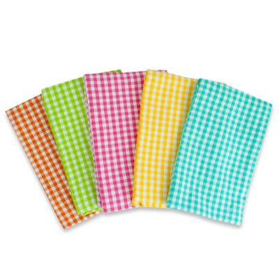 Heavyweight Cotton Kitchen Towels in Malibu Madras (Set of 5)