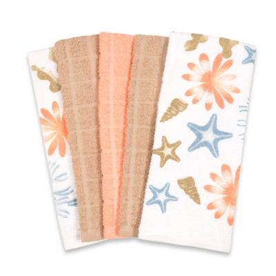 Print and Solid Kitchen Towels in Coral (Set of 5)