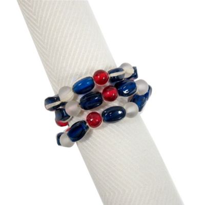Sea Glass Beads Napkin Ring in Blue/Red