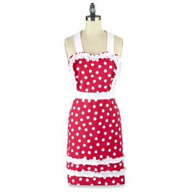 Mud Pie Ruffled Polka Dot Apron in Pink