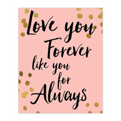 Love You Gold Polka Dots 16-Inch x 20-Inch Canvas Wall Art