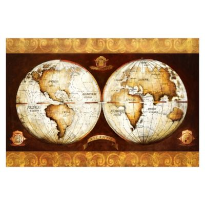 Pied Piper Creative Vintage World Map 48-Inch x 32-Inch Canvas Wall Art