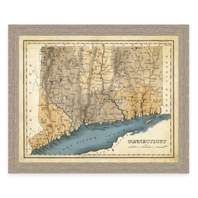 Map of Connecticut Framed Print