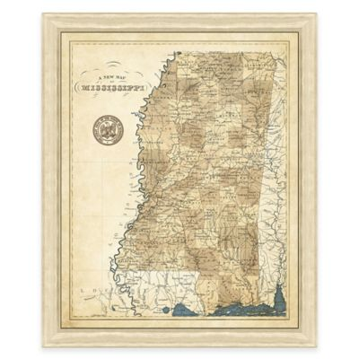 Map of Mississippi Framed Print