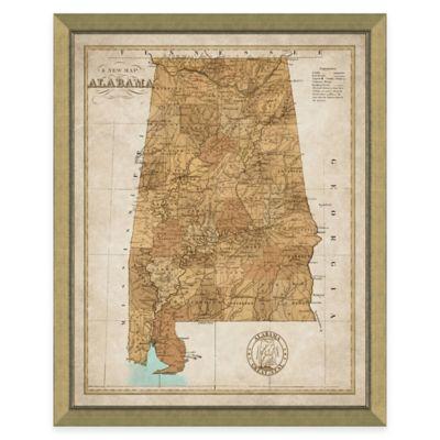 Map of Alabama Framed Print