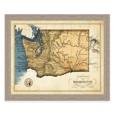 Map of Washington Framed Print