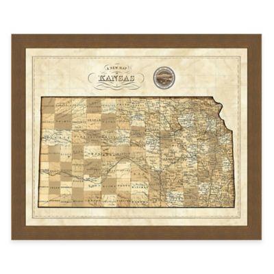Map of Kansas Framed Print