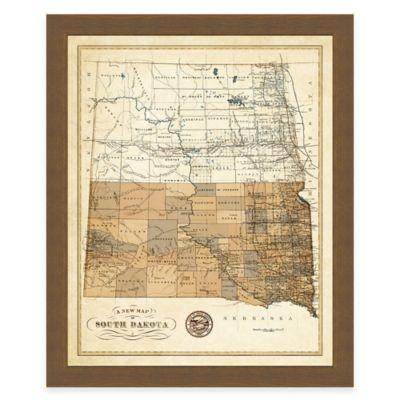 Map of South Dakota Framed Print